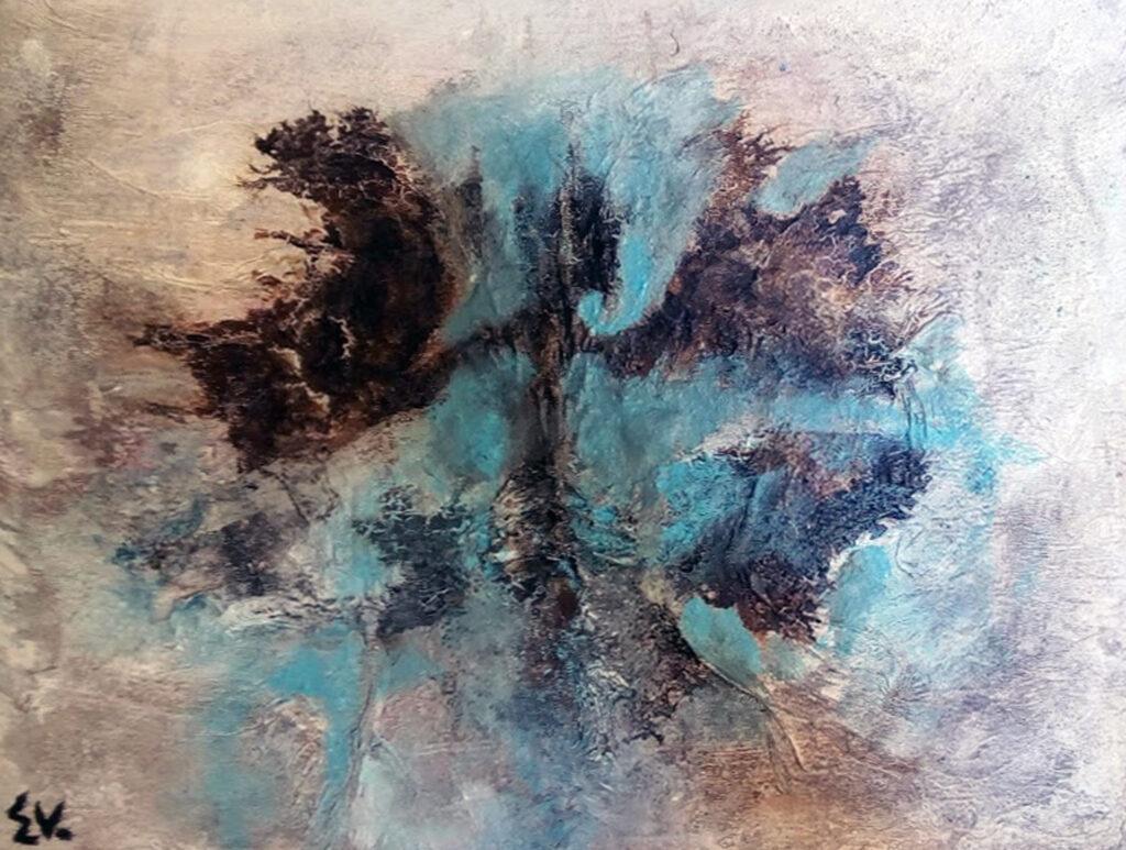 La batalla final. Arte abstracto primitivo.
